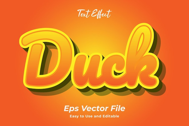 Text effect duck editable and easy to use premium vector