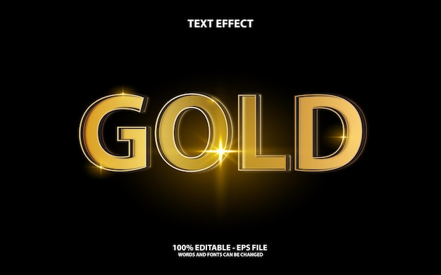 Text effect editable, gold style