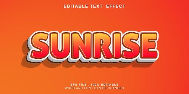 Текстовый эффект редактируемый восход солнца