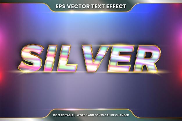 텍스트 효과 효과 편집 가능한 현실적인 금속 실버 골드 및 퍼플 색상 조합 플레어 라이트 개념