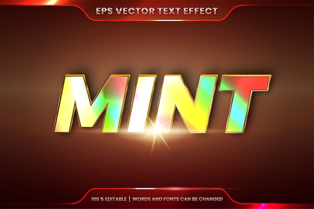 Text effect in embossed mint words, font styles theme editable realistic holographic gradient color combination with flare light concept