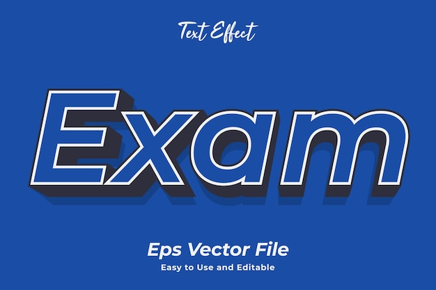 Text effect exam editable and easy to use premium vector
