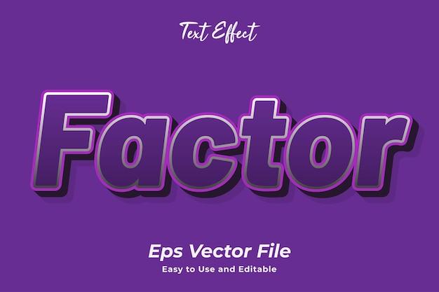 Текстовый эффект фактор редактируемый и простой в использовании премиум векторы