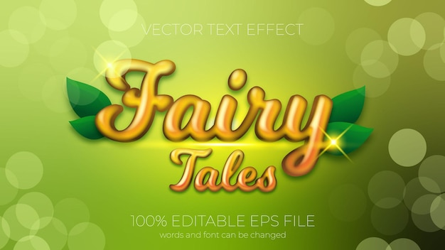 Text effect of fairy tales vector illustration