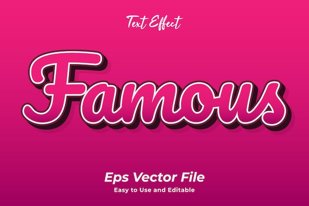 Text effect famous editable and easy to use premium vector