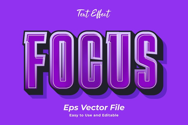 Text effect focus editable and easy to use premium vector