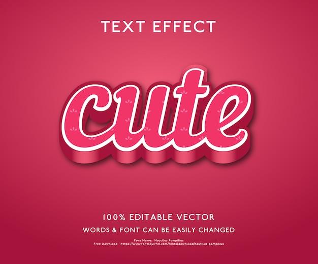 Текстовый эффект для милого смелого трехмерного стиля премиум вектор