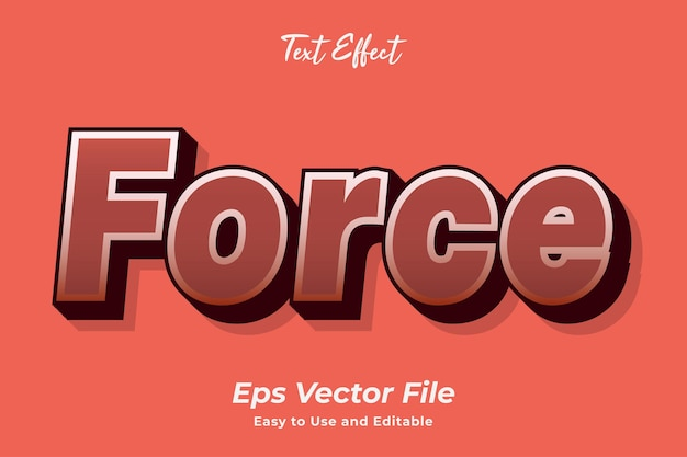 Text effect force 편집 가능하고 사용하기 쉬운 프리미엄 벡터