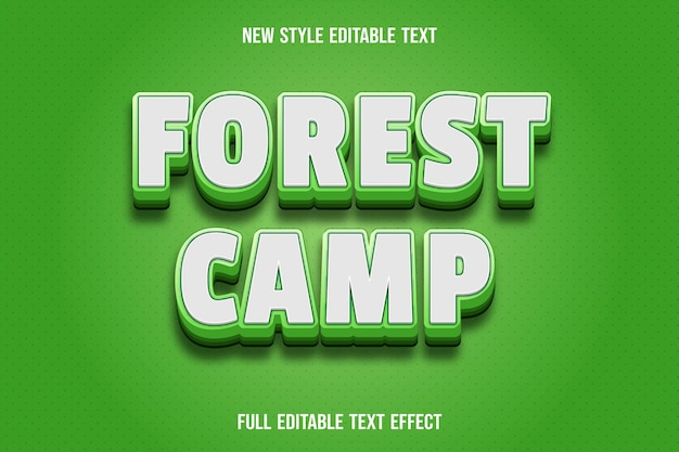Text effect forest camp color white and green gradient