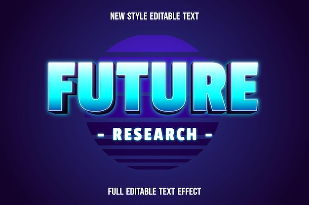 Text effect future research color blue and white