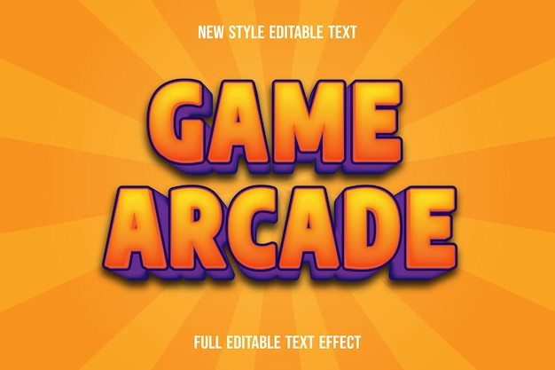 Text effect  game arcade color orange and purple