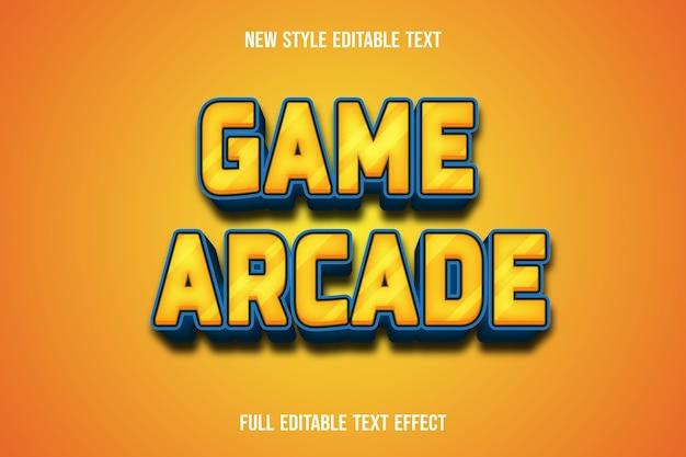Текстовый эффект игровой аркады цвет желтый и синий градиент