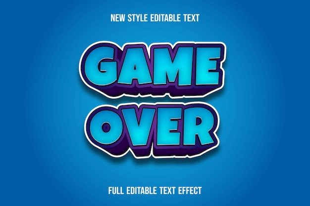 Text effect  game over color blue and purple Premium Vector