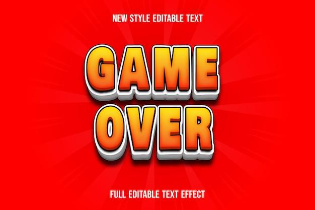 Игра с текстовым эффектом окончена на оранжево-белом градиенте
