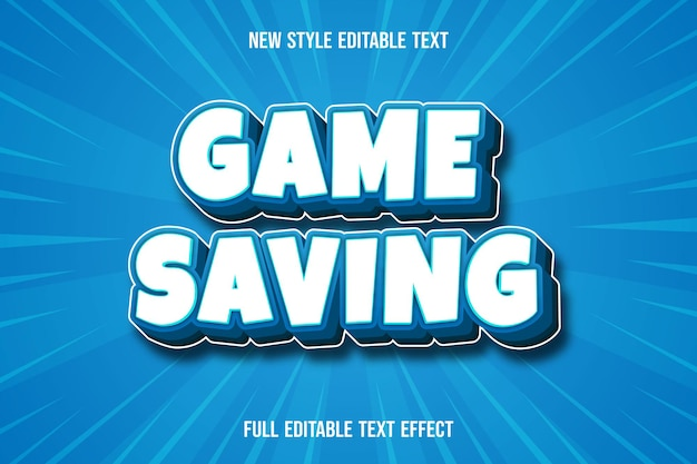 Text effect  game saving color white and blue gradient
