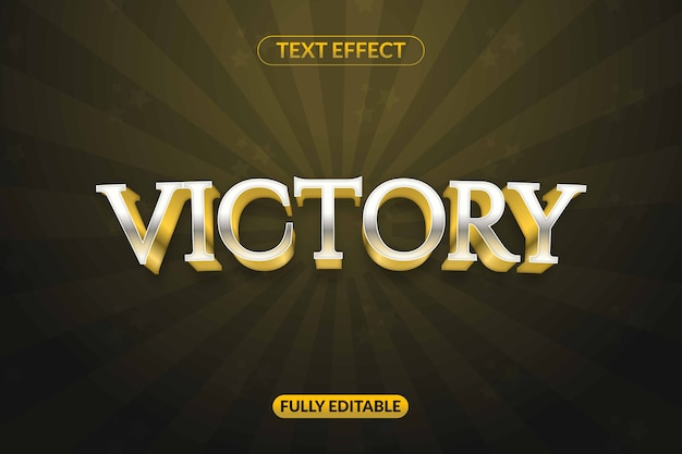 Text effect golden silver victory game for advertising, social media branding, title and many more