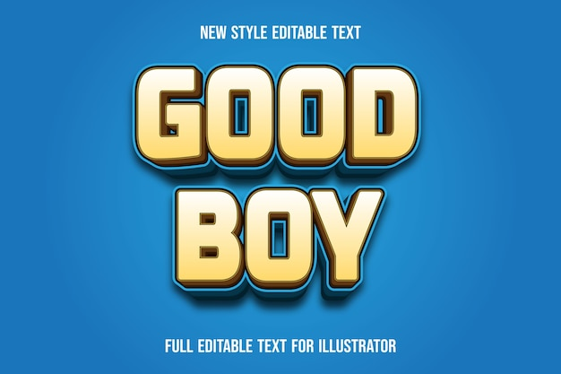 Text effect good boy color light brown and blue gradient