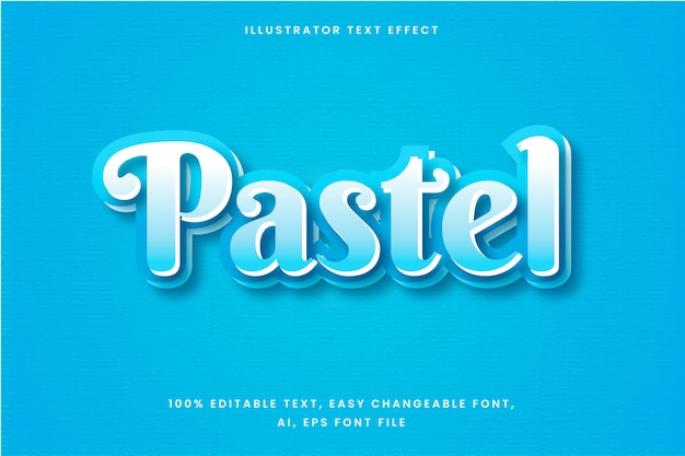 Text effect in gradient blue pastel word