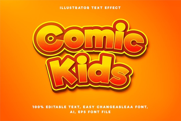Text effect in gradient orange comic kids words