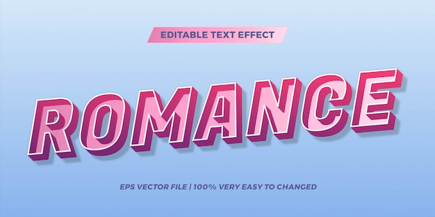 Text effect in  gradient pastel color romance words text effect theme editable retro concept