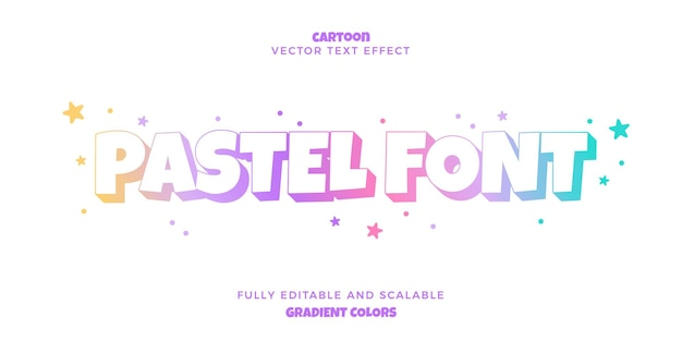 Text effect in gradient pastel colors fully editable