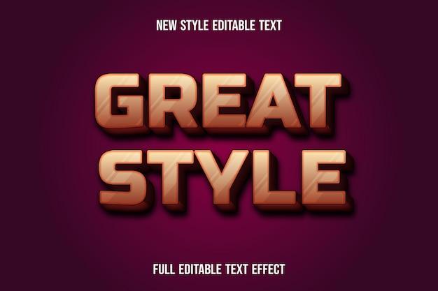Текстовый эффект отличный стиль на фиолетовом и коричневом градиенте