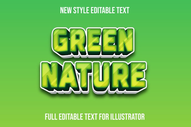 Text effect green nature color green and white gradient