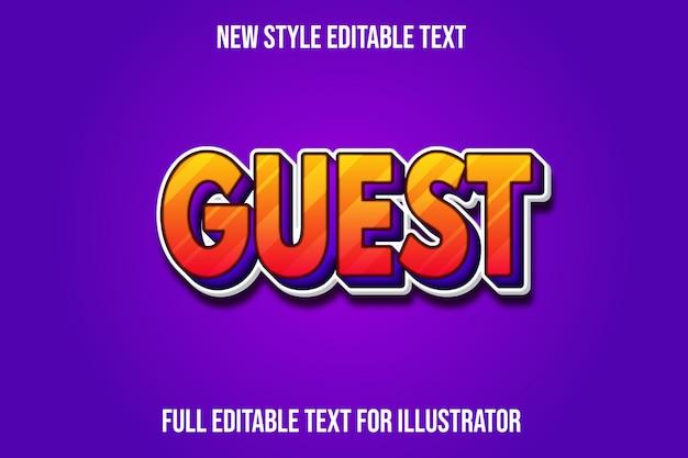 Текстовый эффект гостевой цвет оранжевый и фиолетовый градиент