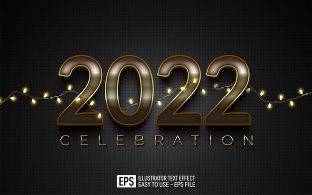 Text effect happy new year 2022 editable elegant style effect template