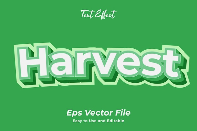 Text effect harvest easy to use and editable premium vector