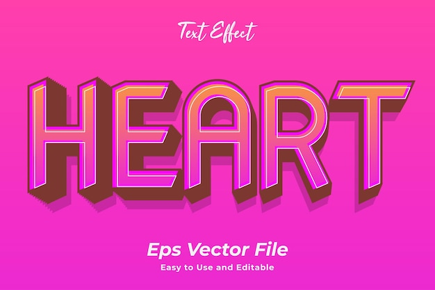 Text effect heart editable and easy to use premium vector