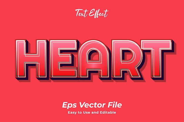 Text effect heart editable