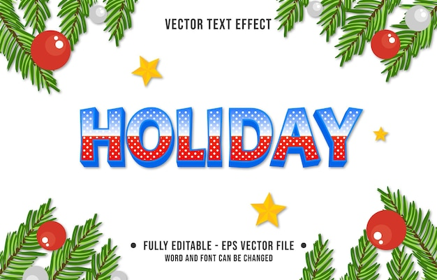 Text effect holiday style christmas theme background