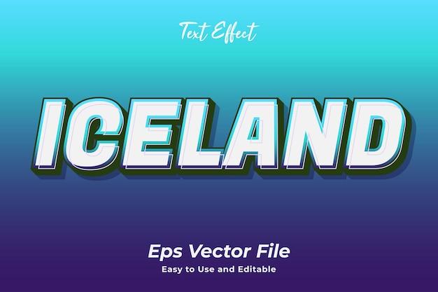 텍스트 효과 아이슬란드 사용하기 쉽고 편집 가능한 프리미엄 벡터