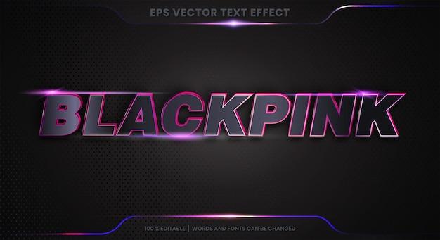 3dブラックピンクワードフォントスタイルのテーマ編集可能な金属グラデーションピンク色の概念のテキスト効果