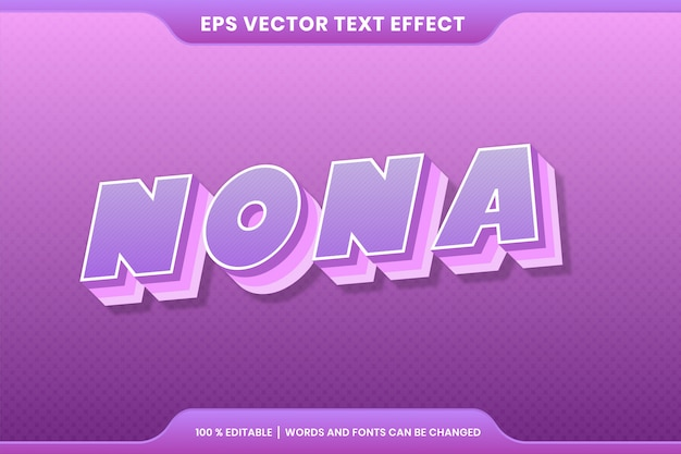 Эффект текста в 3d красочные нона слова текстовый эффект тема редактируемые ретро концепция