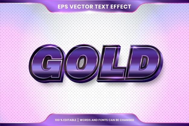 3 dゴールドワードフォントスタイルテーマ編集可能な金属紫の色の概念のテキスト効果