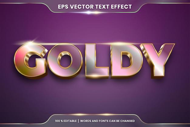3d goldy 단어 텍스트 효과 테마 편집 가능한 그라데이션 금속 금색과 장미 골드 색상 개념의 텍스트 효과