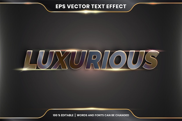 Текстовый эффект в 3d роскошные слова текстовый эффект тема редактируемый металлический бронзовый цвет концепция
