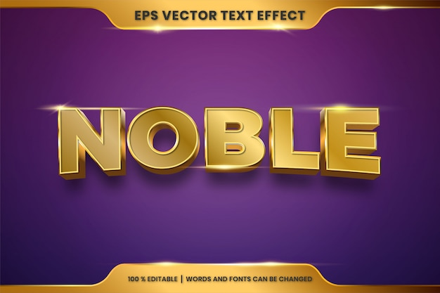 Текстовый эффект в 3d благородные слова текстовый эффект тема редактируемый металлический золотой цвет концепция