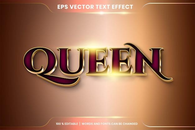 3d 퀸 골드 단어, 글꼴 스타일의 텍스트 효과.