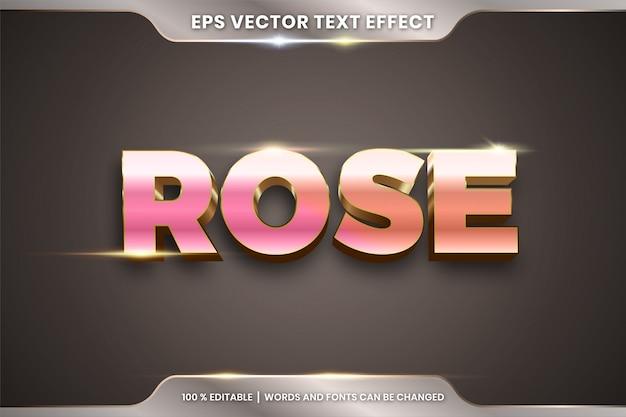 3d 로즈 단어 텍스트 효과 테마 편집 가능한 금속 골드 컬러 개념의 텍스트 효과