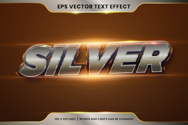 3d 실버 골드 단어, 글꼴 스타일의 텍스트 효과.