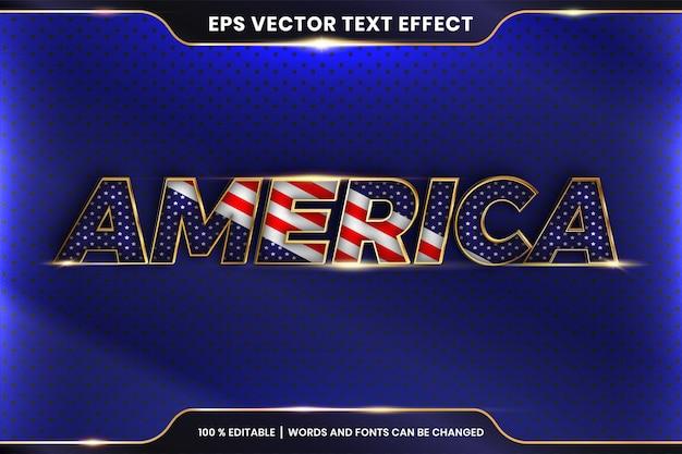 Текстовый эффект в словах америки, тема текстового эффекта, редактируемая концепция цвета металла и золота Premium векторы