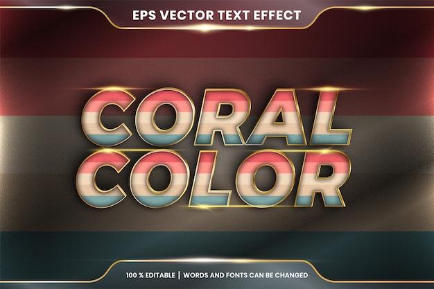 Текстовый эффект в словах кораллового цвета, тема текстового эффекта редактируемая красочная пастель с металлической золотой цветовой концепцией