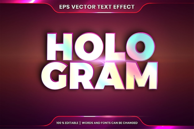 엠보싱 홀로그램 단어의 텍스트 효과, 글꼴 스타일 테마 편집 가능한 사실적인 홀로그램 그라데이션 색상 조합과 플레어 라이트 개념
