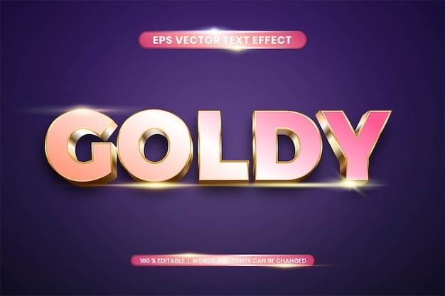 골드 단어 텍스트 효과 테마 편집 가능한 금속 로즈 골드 컬러 개념의 텍스트 효과