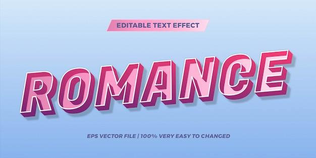 그라디언트 파스텔 색상 로맨스 단어 텍스트 효과 테마 편집 가능한 복고풍 개념의 텍스트 효과