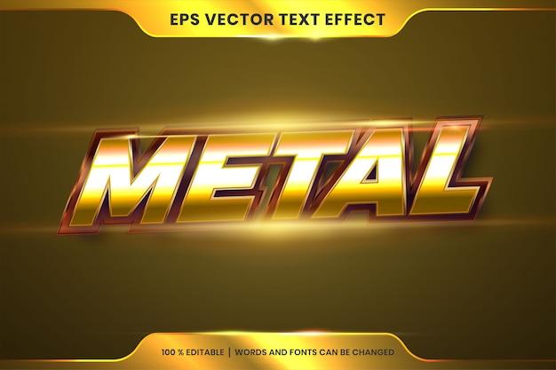 Текстовый эффект в металлических золотых словах, редактируемая тема стилей шрифтов, реалистичный металлический градиент, бронзовый и золотой цвет, комбинация с концепцией бликов