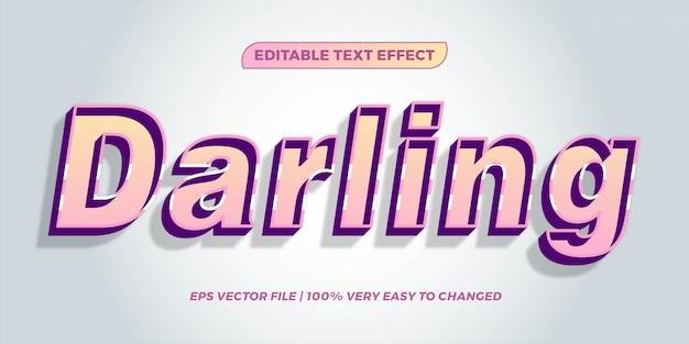 파스텔 색상의 텍스트 효과 달링 단어 텍스트 효과 테마 편집 가능한 복고풍 개념
